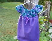 Child's Dress - Teal Mix and Purple