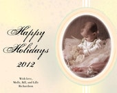 Vintage Style Holiday Card, Personalized with Photo