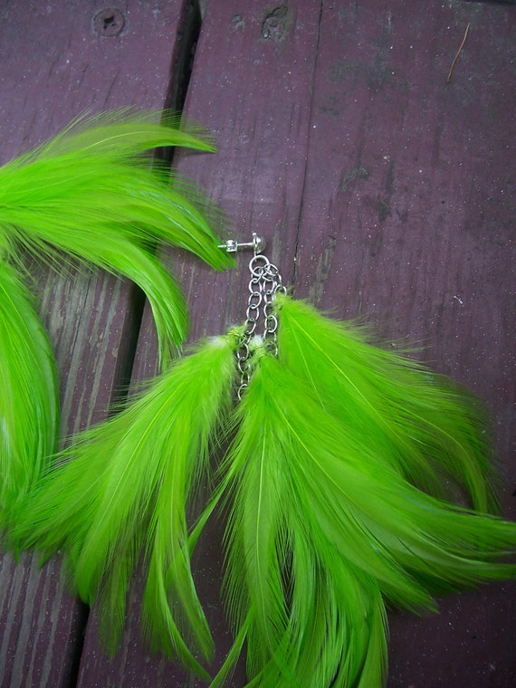 Lime Green Feather Earrings - RESERVED LISTING