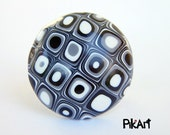 Polymer clay ring - handmade retro ring - black, white, silver