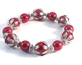 Crimson Red Pearl & Antiqued Silver Stretch Bracelet, Red Jewelry, Red Bracelet, Christmas Jewelry, Womens Fashion, Holiday Jewelry