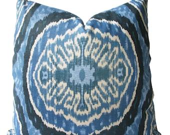 Decorative Designer Duralee, Blue, Indigo, Ikat, Batik, Suzani, 18x18, 20x20, 22x22, Throw Pillow