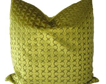 Decorative, Cut Velvet, Geometric Chartreuse Green Pillow Cover,  18x18, 20x20, 22x22 or Lumbar, Throw Pillow