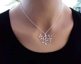 Leaf  Necklace,  Silver Necklace, Sterling Silver,  Leaf Jewelry, Birthday Gift, Dainty Mother's  Jewelry