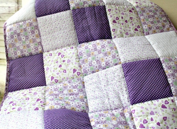 Baby girl patchwork quilt, purple and lilac spots and flowers