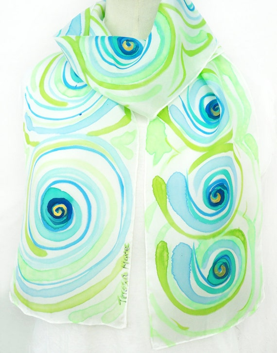 KURIA. Hand Painted Long Silk Scarf. Lime, Blue Silk Scarf. Multicolor Twirls Fashion. 8x72 in. (20x183cm). Ready to Ship.