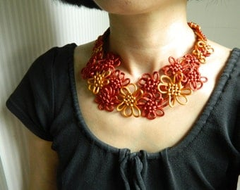 Japanese Chinese Knot Necklace Bib Necklace Statement Necklace flower Necklace Fall colors Fiber Necklace Cord necklace textile necklace