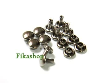 10% Off Clearance SALE: 8mm 100 sets Silver round double cap Rivet rapid studs / HIGH Quality - Fikashop