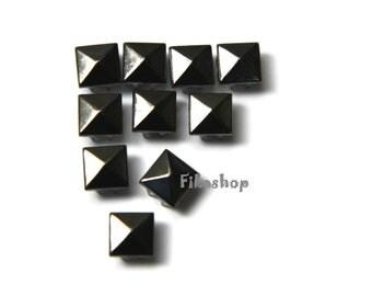 9mm 100pcs Gunmetal grey pyramid studs ( 8 legs ) / HIGH Quality Fikashop