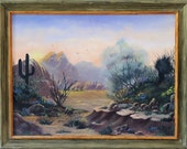 Fine art acrylic painting: A typical landscape in the desert southwest with saguaro, ocotillo, and other cactus.