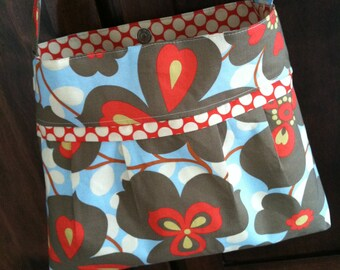 Pleated Purse w/ Zipper Pocket Amy Butler Morning Glory Lotus Purse