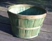 Vintage Green Wood Slat Large Apple Basket