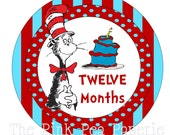 INSTANT DOWNLOAD - Monthly Cat in the Hat Tummy Tags - DIY (Printable Stickers) /Iron-on Transfers - Perfect for Monthly Baby Photos