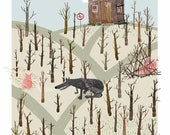 Three Little Pigs Poster, Fairy Tale, Original Illustration, Wall Decor