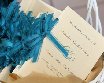 Wedding Ceremony Programs Folded with Ribbon - Personalized Color and Motif at no extra charge