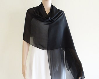 Black Long Scarf. Chiffon Scarf. Black Wrap Scarf. Black Chiffon Shawl.