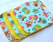 Cloth Wipes - Cotton Velour or Baby terry and flannel - Set of 5 or 6 - Baby Washcloths - Reusable Wet Wipe - Cloth Diaper - Hip Owls