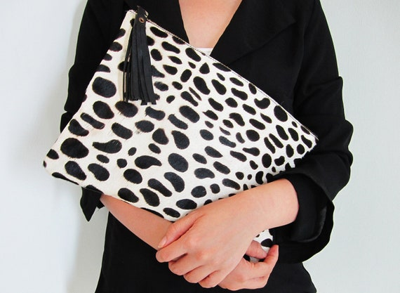 Dalmatian Print Calf Hair Zipper Pouch Leather Clutch