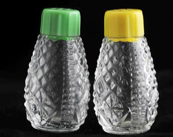 Glass Salt and Pepper Shakers Green and Yellow Celluloid Tops Vintage 1950s Mini Salt and Pepper Shakers