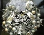 """DELUXE artificial """"SILVER"""" CHRISTMAS wreath"""