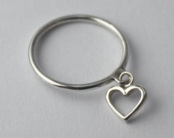 Silver charm Heart Ring... 925 Sterling silver Stacking ring with loose Heart charm