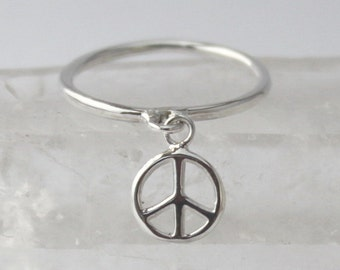 Silver charm Peace Ring... 925 Sterling silver Stacking ring with loose Peace sign charm