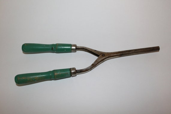 Vintage Metal Curling Iron with Green Wooden Handles