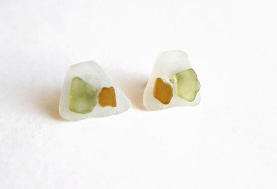 Seaglass Stud Earrings- White, Green, Amber Trapezoid Beach Glass