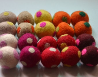 20 Pcs Polka Dots Wool Felt Balls (1cm, 1.5cm, 20cm)