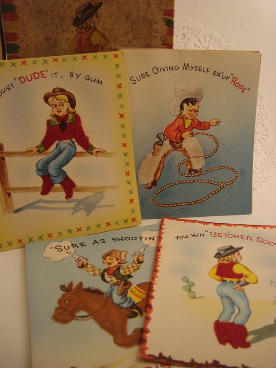 Cowboy Country Western Christmas Cards Vintage By Omasbasement