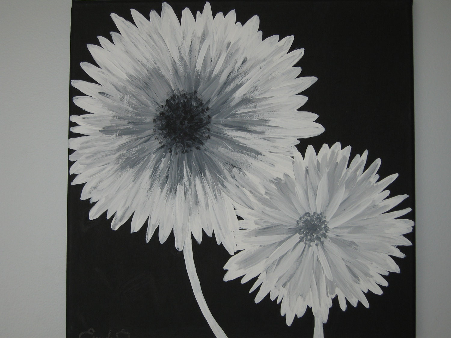 modern black white and gray daisy flowers by emeraldinebyes