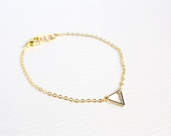 dainty triangle gold bracelet - minimalist jewelry - delicate chain gift for her under 20