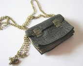 Old Look Leather Book Necklace-Gray or Black