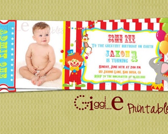 Circus Ticket Invitation - FREE thank you card included