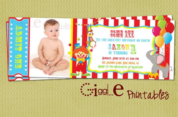Circus Ticket Invitation FREE thank you card included – Ticket Invitation Template Free