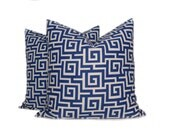 CLEARANCE SALE SALE Nautical (Navy Blue & Dull White) Greek Key Decorative Pillow Cover