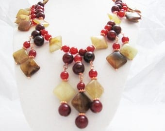 Red & Latte Brown Jade Copper wire OOAK handmade Necklace collar gift idea gypsy bohemian chunky beaded shabby chic