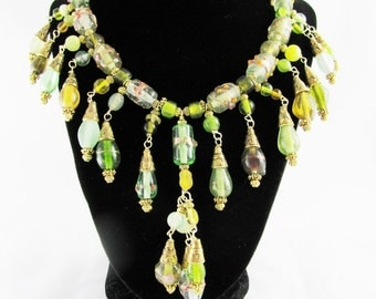 Lampwork Green Glass Beads Collar Necklace Gold Viking beads romance steampunk boho chic classy floral spring bohemian gypsy OOAK