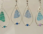 Hoop Earrings Maine  Sea Glass wrapped with Sterling Silver wire and Sterling Silver Fishhook Ear Wires