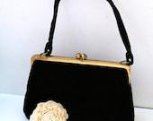 Vintage Black Velvet Purse - Brass Frame Handbag with Comb Mirror