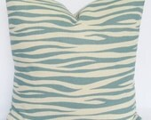 Blue natural Decorative Pillow Cover 26x26 miami summerland throw Pillow Cover same fabric front and back FREE SHIP