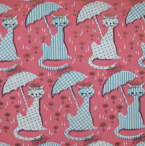 Vintage Gift Wrap Wrapping Paper Kaycrest MOD Shower CATS Kitties 1950s