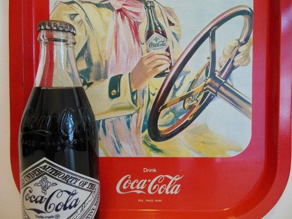 COCA-COLA Tray ~ Beverage Tray ~ Edwardian Coca Cola Girl with Classic Touring Car ~ Coca Cola Ad ~ TV Tray ~ Advertisement