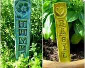 Set/12 Garden Stake Plant Marker Herb and Greens, California Stamped Ceramic, Clay, Pottery, Gardener Gift , Ready to Ship- New Asian Greens