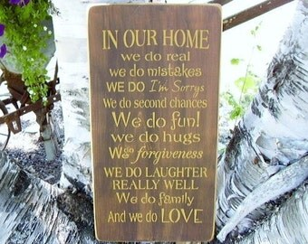 Wood Sign, In Our Home, Home Rules, Inspirational, Word Art, Handmade, Family