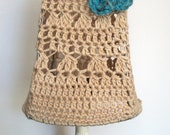 Lampshade crocheted natural cotton with turquoise flower detail light fitting