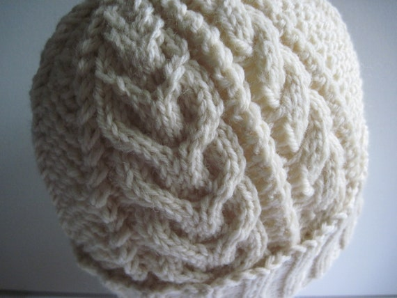 Hand Knitted 100% WOOL Sampler Watchcap with Horseshoe , Seed and Classic Cable