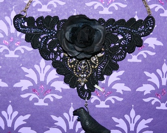 Black lace rose necklace with crow
