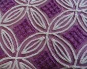 "DOWNSIZING SHOP SALE...Eggplant Purple Chenille Diamonds on White Double Wedding Ring Vintag e Bedspread Fabric Piece... 18  x 19"""