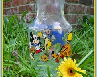 Disney's Mickey, Minnie, Donald, Goofy, and Pluto Glass Pitcher sports fan